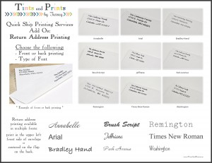 Tints & Prints Return Address Printing Option