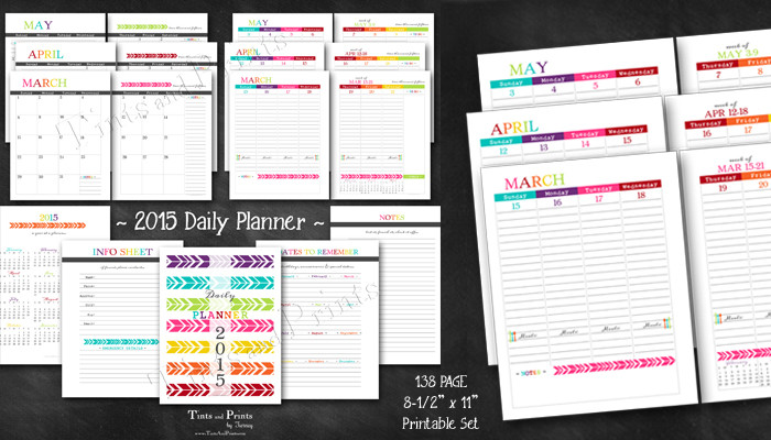Happy 2015 Daily Planner Printable PDF Calendar