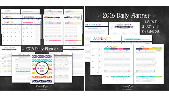 Happy 2016 Daily Planner Printable PDF Calendar